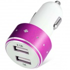 ES-06 Universal 5V 1A/2.1A 2-Port USB Car Charger for IPHONE / Cellphone + More - Deep Pink + White