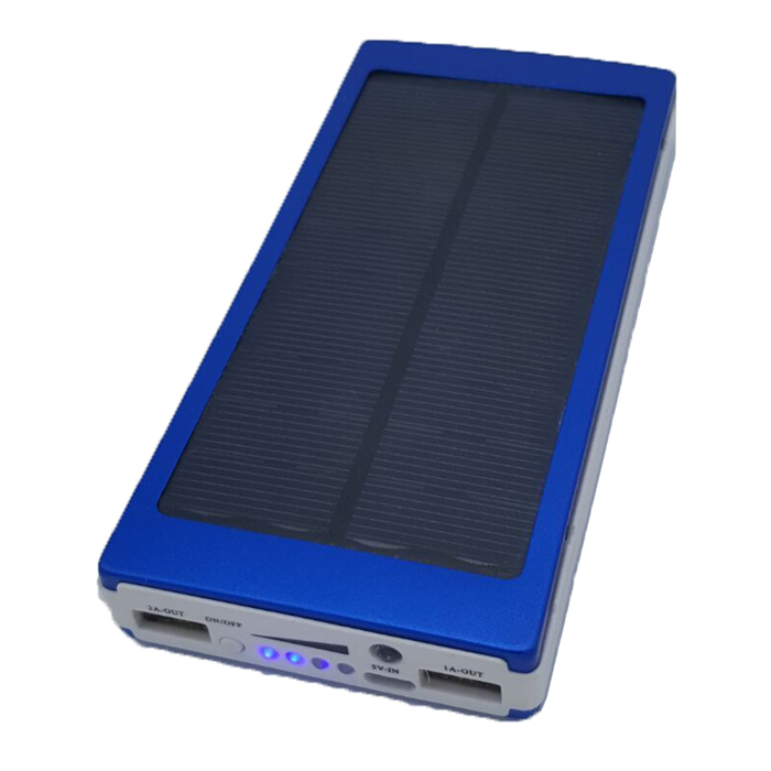 SP20000 Universal Dual USB Output 5V 10000mAh Li-ion Polymer Solar Power Bank Charger - Blue - DXSolar Powered Gadgets<br>It can provide electricity to mobile phone digital camera MP3 MP4 and other digital products; It can be recharged by solar energy as well as USB equipment. Product description: Solar power: 2W Capacity: 10000mAh Input: 5V 1A Output: 5V 1A Output two: 5V 2.1A Product size: 160 x 75 x 20mm Product weight: 340g<br>