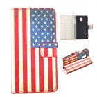 sx002 US Flag Pattern Flip Open PU + PC Case w/ Stand / Card Slots for Samsung Galaxy S5 Mini
