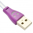 L1 LED Smiling Face USB 2.0 Male to Micro USB Male Retractable Data/Charging Cable - Purple (100cm)