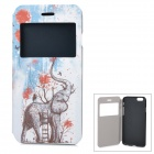 Elephant Pattern Ultra-Thin Protective Flip-Open PU + ABS Case w/ View Window / Stand for IPHONE 6