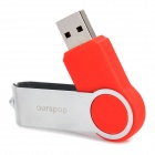 Ourspop U336 Rotary USB 2.0 Flash Drive - Red + Silver (64GB)