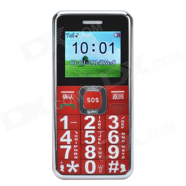 "GS89 1.8"" LCD Quad-band GSM Bar Phone w/ SOS, LED Light - Red + Silver"