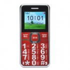 "A555 1.8"" LCD Screen Quad-band GSM Bar Phone w/ MP3 / FM/ SOS/ LED Light/ UV Lamp - Red + Silver"