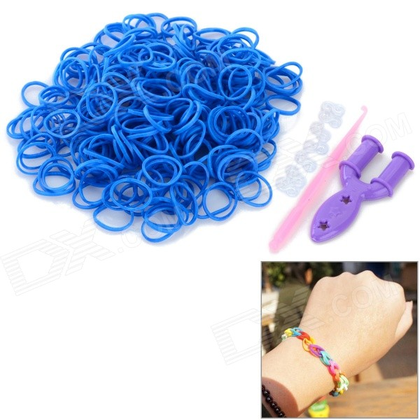 DIY Educational Silicone Rubber Band Bracelet for Children - Blue (300 PCS)