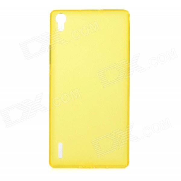 Protective Ultra-Slim TPU Back Case Cover for Huawei P7 - Translucent Yellow tpu imd patterned gel cover for iphone 7 4 7 inch dream catcher