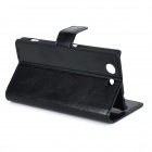 Flip-open PU Leather Case w/ Holder + Card Slot for Sony Z3 Mini - Black