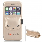 Cute Devil's Claw Kitty Style PU Case w/ Window + Holder for IPHONE 6 - Champagne Gold