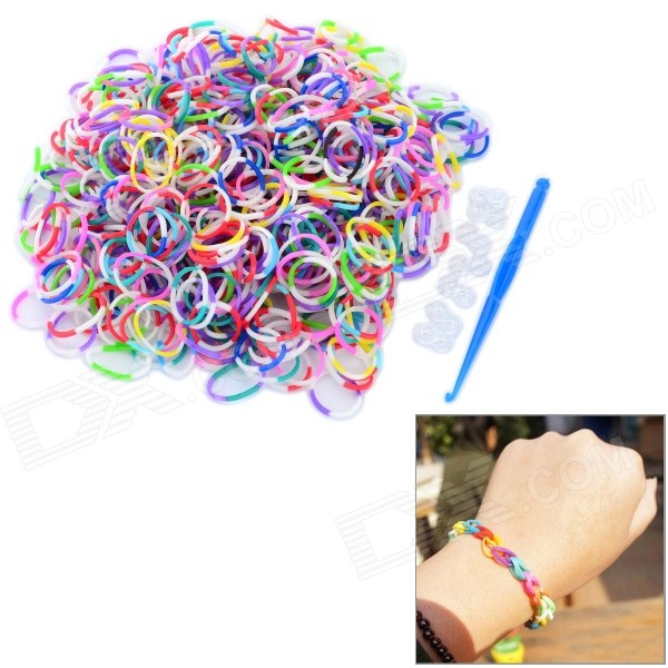 DIY Educational Silicone Rubber Band Bracelet for Children - White + Pink + Multi-Color (600 PCS) multi function automatic yogurt maker white pink multi color 220v 1l