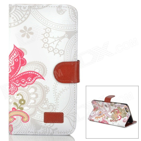Retro Patterned PU Leather Case w/ Holder + Card Slot for IPHONE 6 PLUS 5.5 - White + Yellow adidas authorized oem card holder leather cover for iphone 7 plus green