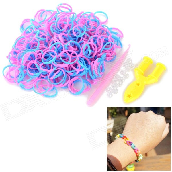DIY Educational Silicone Rubber Band Bracelet for Children - Blue + Pink (300 PCS)