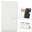 Flip-open PU Leather Case w/ Holder + Card Slot for Sony Z3 Mini - White