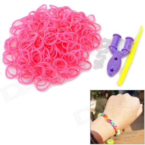 DIY Educational Silicone Rubber Band Bracelet for Children - Pink (300 PCS)