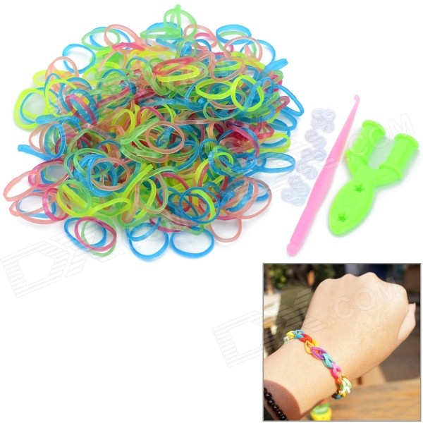 Glow-in-the-Dark DIY Educational Silicone Rubber Band armbånd for barn - Multi-farge (300 stk)