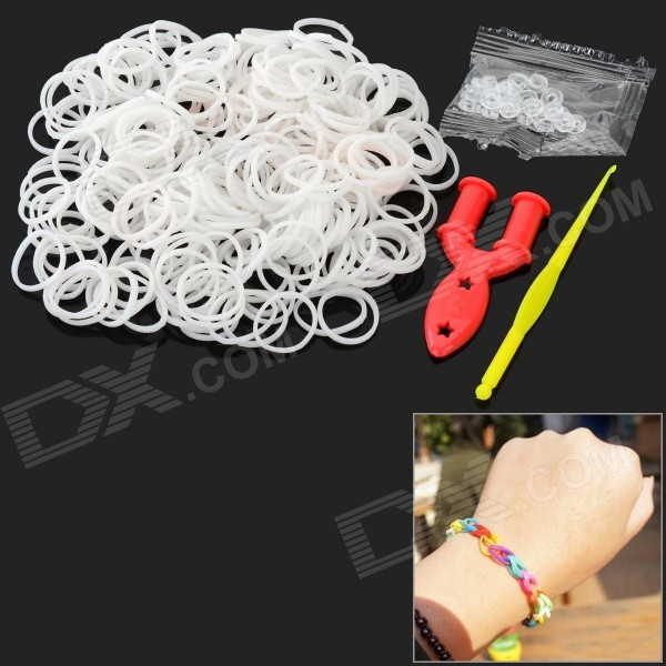 DIY Educational Silicone Rubber Band Bracelet for Children - White (300 PCS)