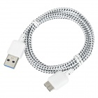 Knitted Nylon Housing USB Male to Micro-B USB 3.0 Male Data Sync & Charging Cable - Black + White