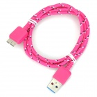 Knitted Nylon Housing USB Male to Micro-B USB 3.0 Plug Male Data Sync & Charging Cable - Deep Pink