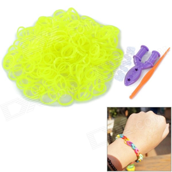 Glow-in-the-Dark DIY Educational Silicone Rubber Band for Children - Yellow Green (300 PCS) children s participation in khat production educational implications