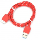 Knitted Nylon Housing USB Male to Micro-B USB 3.0 Plug Male Data Sync & Charging Cable - Red