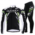 NUCKILY MC005 MD005 Cycling Men's Long Sleeves Jersey + Pants Set - Black + Multi-Color (XXL)