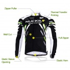 NUCKILY MC005 MD005 Ciclismo de Hombre de manga larga Jersey + Pants Set - Negro + Multi-Color (XXL)