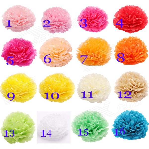 Decorative Paper Flower Set for Party - Assorted Color (4 PCS)