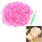 DIY Educational Silicone Rubber Band Bracelet for Children - White + Pink (600 PCS)