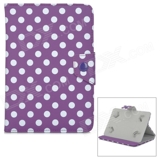Dots Pattern Protective PU Flip-Open Case w/ Stand for Samsung 7 Tablet PC - Purple + White protective flip open pu case w stand card slots for samsung galaxy s4 active i9295 black