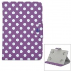 "Dots Pattern Protective PU Flip-Open Case w/ Stand for Samsung 7"" Tablet PC - Purple + White"