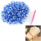 DIY Educational Silicone Rubber Band Bracelet for Children - Blue + White (600 PCS)