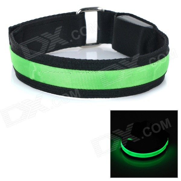 Outdoor Sports Safety 3-Mode LED Flashing Arm Band - Black + Green (2 x CR2032)