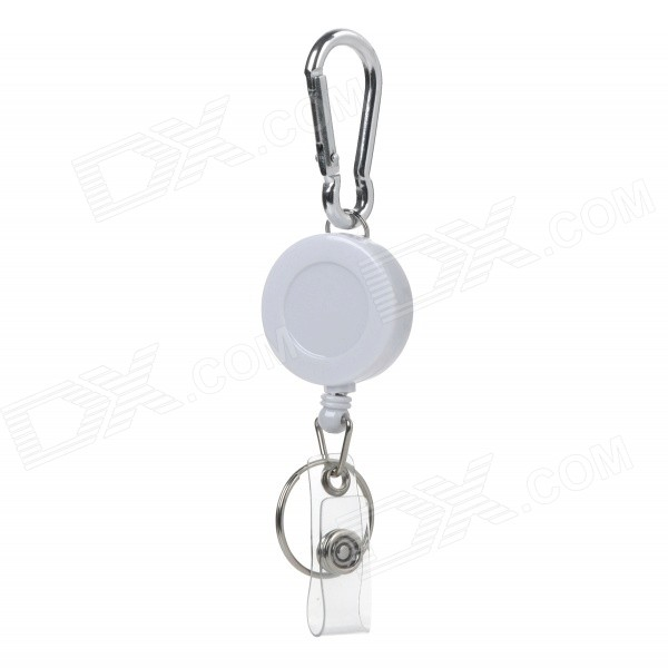 Multi-Function Outdoor Sports Retractable Rope + Carabiner - White + Silver