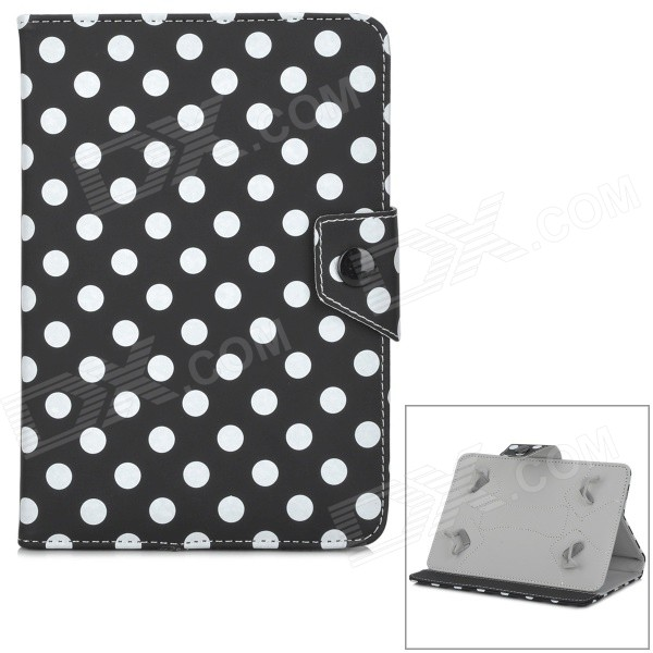 Dots Pattern Protective PU Flip-Open Case w/ Stand for Samsung 7 Tablet PC - Black + White protective flip open pu case w stand card slots for samsung galaxy s4 active i9295 black