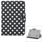"Dots Pattern Protective PU Flip-Open Case w/ Stand for Samsung 7"" Tablet PC - Black + White"