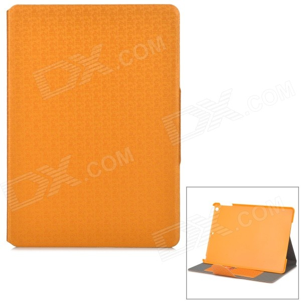 Grid Pattern Protective Artificial Leather Flip-Open Case w/ Stand for IPAD AIR - Orange funny moustaches pattern pu leather flip open case w stand for ipad 2 the new ipad ipad 4