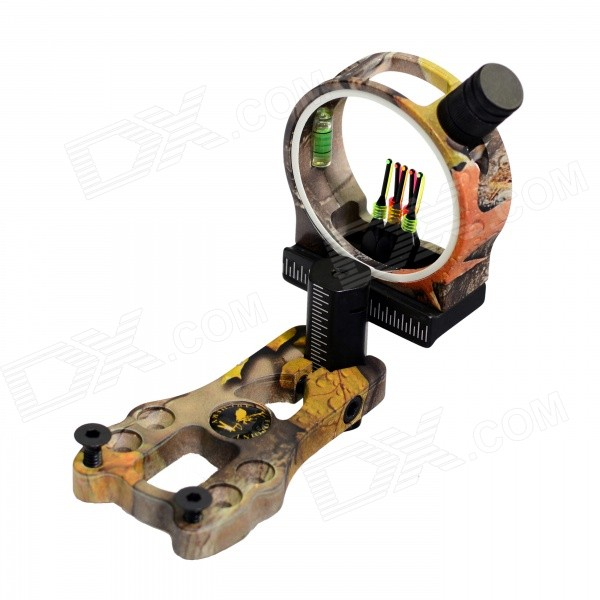 5-Pin Aviation Aluminum Alloy Bow Sight Scope w/ LED Light - Yellow Camouflage