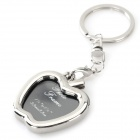 Zinc Alloy Apple Shaped Mini Photo Frame Keychain - Silver + Black