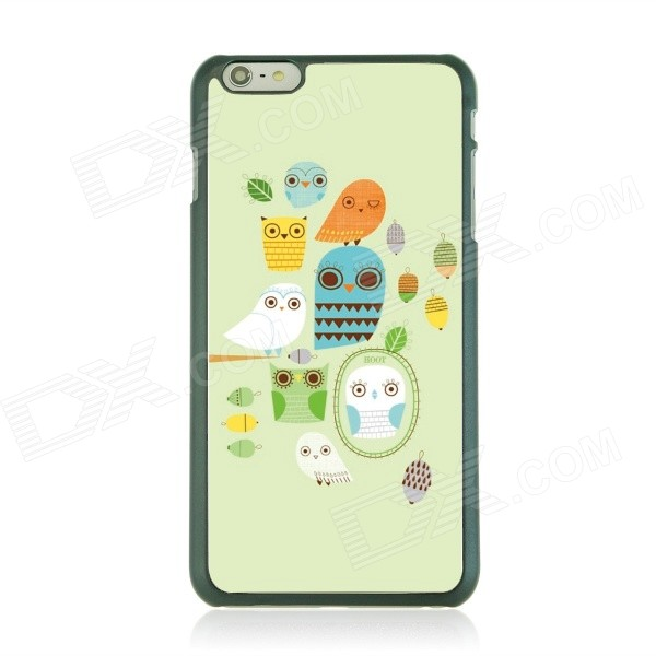 Ultra-thin Cartoon Owl Pattern Back Case for IPHONE 6 PLUS - Green + White 3d cartoon cat kisses fish pattern protective abs back case for iphone 6 plus white green