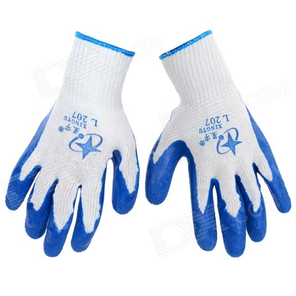 Durable Anti-Slip Working Latex Coated Safety Gloves - White + Blue (Pair)