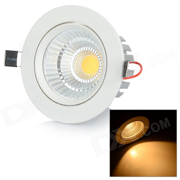 10W 1000lm 3500K COB LED Warm White Ceiling Lamp - White + Silver (AC 85~265V) wbr 0012 10w 950 1000lm cob led shallow cup fixture ceiling light with white shell warm white 85 265v
