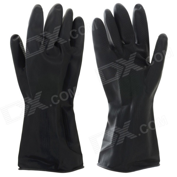Durable Latex Working Safety Gloves - Black (Size L / Pair)