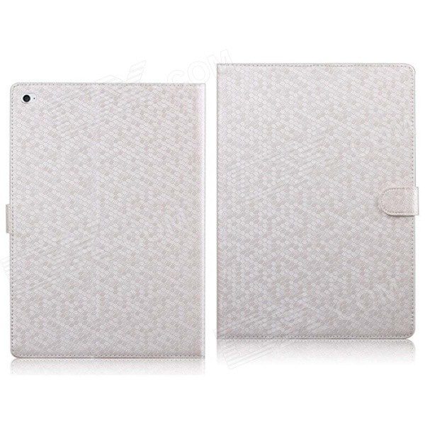 Diamond Pattern PU Leather Flip Case with Mount Stand & Credit Card Slots for IPAD AIR 2 - White stripe pattern protective flip open pu case w card slot stand for ipad air 2 white multicolor