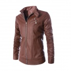 Men's Fashionable Slim Collar Double Zipper Motorcycle PU Leather Jacke - Brown (L)