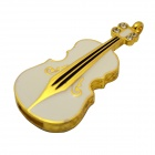 Metal Violin Shaped USB Flash Drive - White + Gold (8GB)