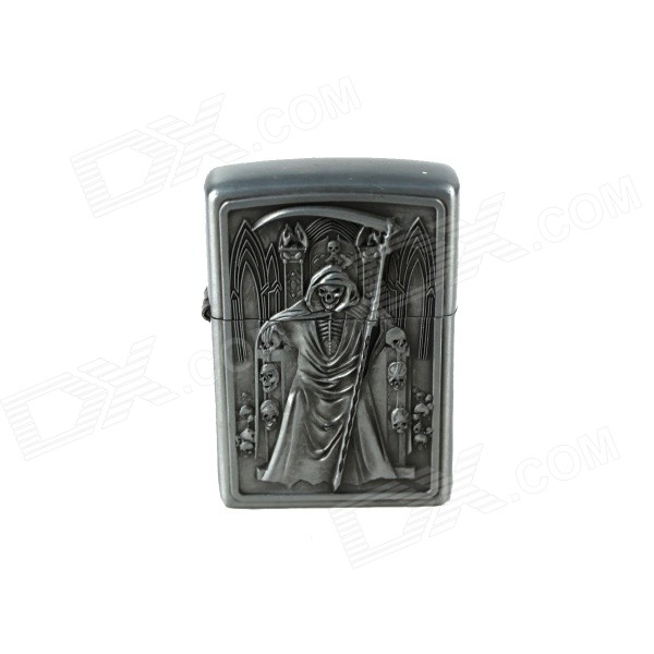Grim Reaper & Sickle Pattern Kerosene Oil Lighter - Silver