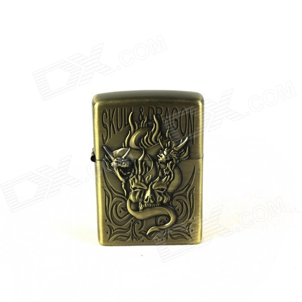 Creative Flame Human Skeleton Dragon Pattern Oil Lighter - Antique Brass