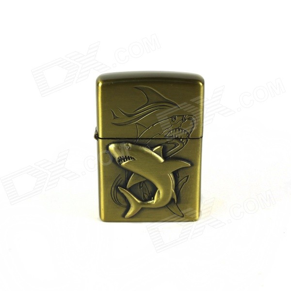 Retro Style Great Shark Pattern Kerosene Lighter - Copper