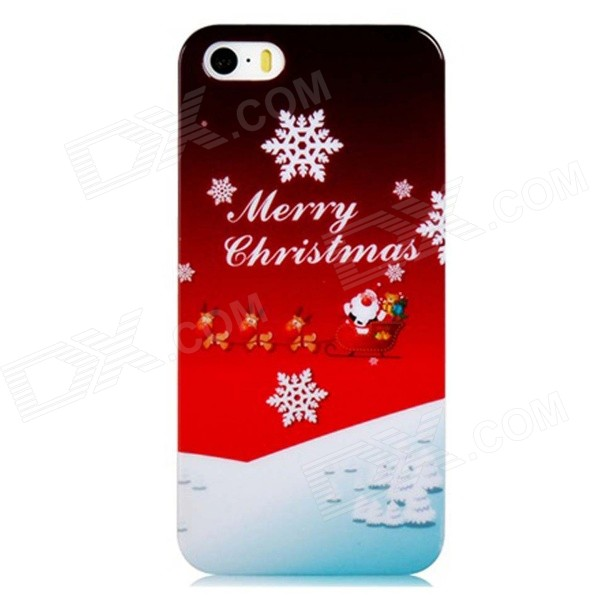 Merry Christmas Snowflakes Pattern PC Hard Back Cover Case for IPHONE 5S / 5 - Red + White sweet bowknot pattern hard back cover pc case for iphone 6 translucent pink