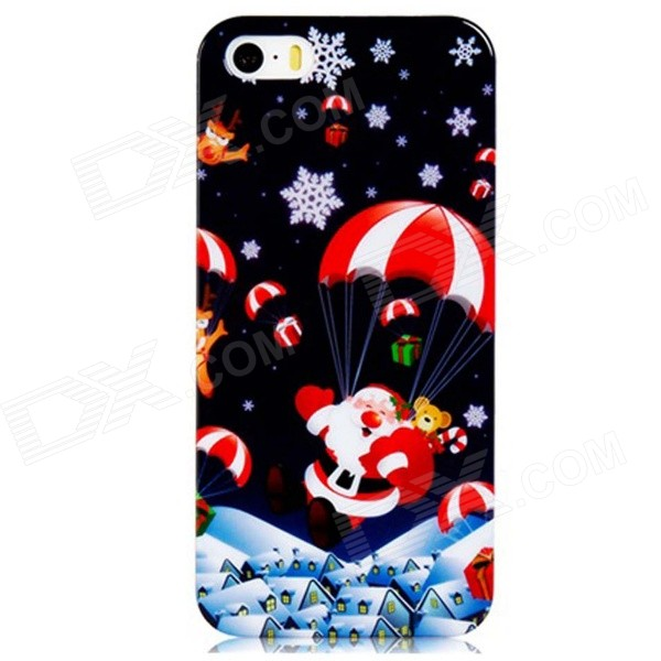 Santa Claus & Parachute Pattern PC Hard Back Cover Case for IPHONE 5S / 5 - Dark Blue + Red sweet bowknot pattern hard back cover pc case for iphone 6 translucent pink