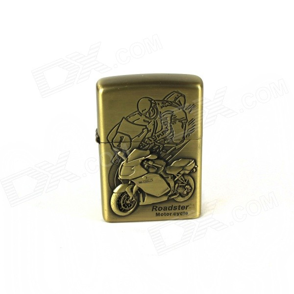 Racing Motorcycle Pattern Retro Style Oil Lighter - Brass